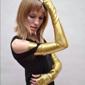 👻 Trixy Xchange Gold Latex Long Gloves